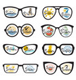 glasses set with summer vacation landscapes vector image
