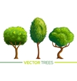 green cartoon style trees set vector image