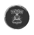 grunge tattoo studio logo vector image