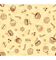 Hand-drawing seamless cupcake pattern vector image vector image