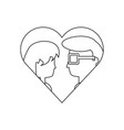 heart with couple icon vector image vector image