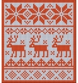 Knitted pattern with reindeer and jacquard flowers vector image vector image