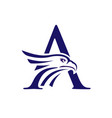letter a and eagle head logo vector image vector image