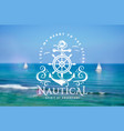 nautical emblem with anchor and steering wheel on vector image vector image