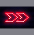 neon arrow sign glowing neon arrow pointer on vector image vector image
