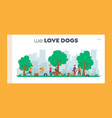 people spend time with pets outdoors landing page vector image vector image