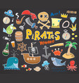 pirate doodles set cute pirate items sketch vector image