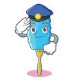 Police feather duster character cartoon