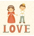 Prince and princess holding hands vector image vector image
