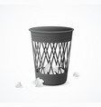 realistic detailed 3d black trash can vector image