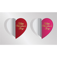 red and pink heart folding vector image vector image
