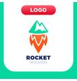 rocket mountain logo top and speed spaceship vector image