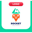 rocket mountain logo top and speed spaceship with vector image