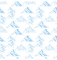 seamless pattern with blue doodle sketch mountains vector image