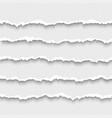 set horizontal seamless torn white paper vector image vector image