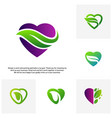 set of love green creative logo concepts nature vector image vector image