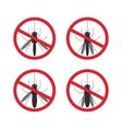 stop mosquito sign black in red circle Isolated vector image