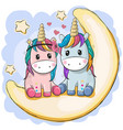 two cute unicorns are sitting on the moon vector image