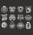 vintage monochrome brewery emblems vector image
