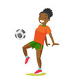 young black woman playing football vector image vector image