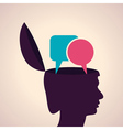 Thinking concept-Human head with message bubble vector image