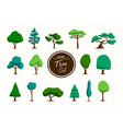 green tree set in hand drawn style vector image
