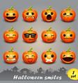 halloween smiles-set 1 vector image