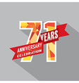 71st Years Anniversary Celebration Design vector image