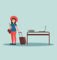 a woman with suitcases and tickets happy vacation vector image vector image