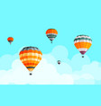 air balloons collection at blue sky with clouds vector image