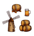 beer drink isolated sketch set with glass barrel vector image