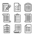 check list icons set on white background line vector image
