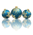 Christmas balls with reflection on grayscale vector image