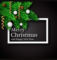 christmas design realistic white frame and text vector image vector image