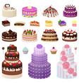 collection of tasty cakes on vector image vector image