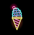 colorful neon glowing ice cream sign flat vector image vector image