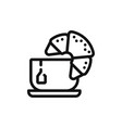 croissant with tea icon vector image