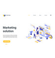 digital marketing solution isometric landing page vector image vector image