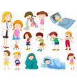 Doctor and many sick patients vector image vector image