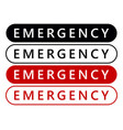 emergency label sticker emergency banner vector image vector image