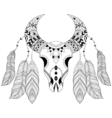 entangle boho animal skull with bird feathers vector image