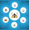 flat icon building set of traditional muslim vector image vector image