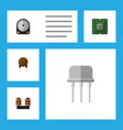 flat icon device set of unit hdd triode and vector image vector image