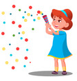 girl child throw colored confetti at the carnival vector image vector image
