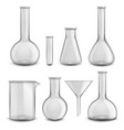 glass chemical equipment realistic test tubes 3d vector image