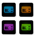 glowing neon cash back icon on white background vector image vector image