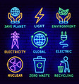 green energy neon label set vector image