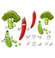 Green pea broccoli and chilli pepper vector image vector image