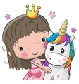 greeting card with fairy tale princess and unicorn vector image vector image