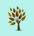 hand tree nature love concept art vector image vector image